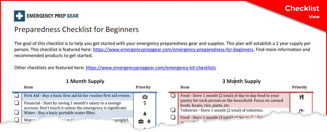 Preparedness Checklist for Beginners